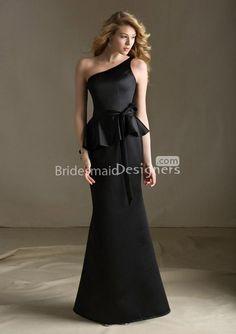 one shoulder peplum sleeveless modified a-line black stain long bridesmaid dress