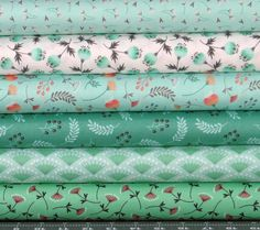 Green Peach Orange and White Cotton Quilt Fabric by fabric406