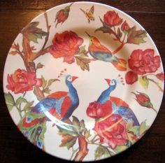 Lush Colorful Peacocks Roses Buds Branches Bird Butterfly Plate #decorativedishes