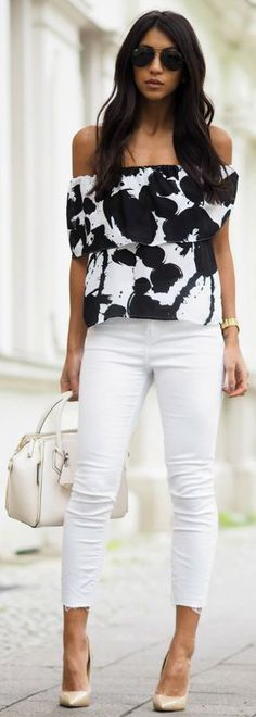 White jeans + perfect match + formal top + striking monochrome off the shoulder piece + Kayla Seah + elegant outfit + perfect for more formal parties and occasions! Shirt/Bag: Rebecca Minkoff, Jeans: Rag & Bone, Heels: Jimmy Choo.