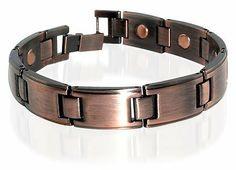 """Copper Clad Magnetic Link 0.50"""" Wide Bracelet 8.5"""" Long with Fold over Clasps Gem Avenue. $10.99. Gem Avenue sku # JBM31001. 0.50 inches wide Bracelet. Mens Copper Clad Magnetic Link Bracelet 8.5 inches. 9 Magnets with 2000 Gauss each. Save 61% Off!"""