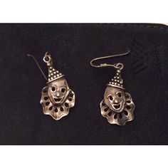 Mask Dangle Earrings, Theatre, Clown, Sterling Silver SUMMER SALE ($33) ❤ liked on Polyvore featuring jewelry and earrings