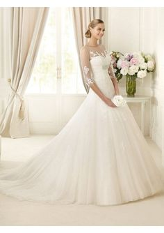 Wedding dress online shop - Organza and Lace Sweetheart Neckline Ball Gown Style with Illusinn 3/4 Sleeves 2013 Wedding Dresses 396548