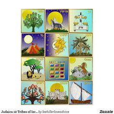 Arte Judaica, 12 Tribes Of Israel, Rosh Hashanah, Panel Art, Bar Mitzvah, Postcard Size, Paper Texture, Custom Stickers, Nature Photography