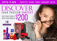 """Athena's loves romance and we decided to hold a contest for you to enter, with a chance to win a """"Discovery"""" prize pack, the prize is worth $200 at retail. Share for bonus entries.  www.athenashn.com/4393"""