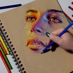 Look at that fantastic color combination! Amazing drawing by Amazing Drawings, Colorful Drawings, Amazing Art, Image Clipart, Art Clipart, Pencil Drawing Tutorials, Art Tutorials, Drawing Ideas, Colored Pencil Portrait