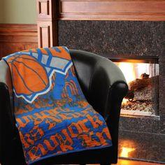 New York Knicks 46'' x 60'' Redux Micro Raschel Throw Blanket - Royal Blue - $17.99
