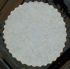 Em's Heart Antique Linens -Antique Linen Society Silk Embroidered Doily Centerpiece
