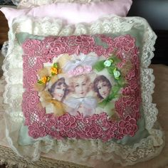 Throw pillow with image of three Victorian by cindysvictorian