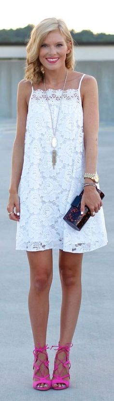 Asos White Lace Trapeze Mini Cami Dress by I Dress, Dress Ootd, Dress Lace, Pretty Outfits, Pretty Dresses, Girl Fashion, Fashion Outfits, Weather Wear, Clothing Items