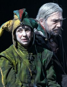 """Tues. February 4: """"I had rather be any kind o' thing than a fool! And yet I would not be thee, nuncle"""" (Fool 1.2) #Leargram TFANA collaborator (and our Puck in MIDSUMMER) Kathryn Hunter as the Fool and Greg Hicks as Lear at the Royal Shakespeare Company. Photo by Manuel Harlan. http://theatrenewaudience.tumblr.com/"""