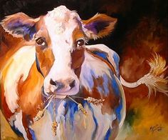 Cow Paintings On Canvas | Art: COW FUN NO.1 by Artist Marcia Baldwin