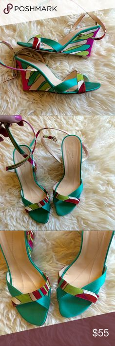 KATE SPADE. Pucci-style satin wedge sandals Killer wedges with ankle strap.        COLORS: striking teal green, magenta pink, light pastel pink, red, touch of lime green.          Noticed the back of left shoe has slight dirt stain. Will gently clean and repost picks! kate spade Shoes Wedges