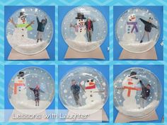 Snow Globes Writing Lesson and Craft Snow Globes! Have the kids make snow globes during January and write about it. Can use whatever type of writing we are working on at the time! Preschool Christmas, Christmas Crafts For Kids, Xmas Crafts, Christmas Art, Preschool Winter, Winter Craft, Christmas Night, July Crafts, Kid Crafts