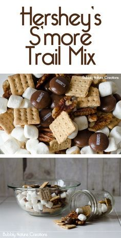 Hershey's S'more Trail Mix - Snack recipes - Studentenfutter Yummy Snacks, Yummy Treats, Sweet Treats, Snack Recipes, Dessert Recipes, Yummy Food, Camping Recipes, Chex Mix, Think Food