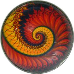 """Crystal Dome Button Mystical Spiral Lg Sz 1  3/8""""  MS 36"""