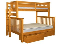 Bedz King Mission Style Bunk Bed Twin over Full with End Ladder and 2 Under Bed Drawers Honey *** You can find more details by visiting the image link. (This is an affiliate link)
