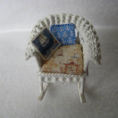 Quarter scale miniature wicker rocking chair by CherylHubbardMinis on Etsy Wicker Rocking Chair, Beige Background, Cushion Fabric, Blue Backgrounds, Cheryl, Seat Cushions, Love Seat, Hand Weaving, Nautical