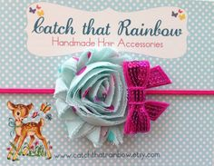 Sequin bow and flower Baby headband baby girl by catchthatrainbow