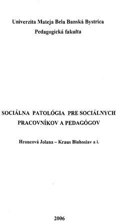 Hroncová, Kraus - Socialna patologia