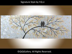 Large abstract art Original artwork gift for couple wall art canvas art four seasons tree – Made To Order- by qiqigallery - PaintinG Abstract Landscape Painting, Acrylic Paintings, Landscape Paintings, Abstract Art, Original Artwork, Original Paintings, Canvas Wall Art, Landscaping, Love Birds Painting