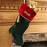 Family Traditions Green Velvet Personalized Christmas Stocking. Make a dramatic and warm addition to your holiday home this year and every year with our luxurious, Velvet Personalized Christmas Stocking Collection! Santa is sure to know whose is whose, with each family member's name delicately embroidered in coordinating metallic, gold thread. And don't forget to add our coordinating Family Traditions Velvet Embroidered Tree Skirt, sold separately below. Beautifully crafted of plush velvet…