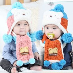 >> Click to Buy << Winter Baby Hat and Scarf Cute Bear Crochet Knitted Caps for Infant Boys Girls 6-12M Children Kids Neck Warmer Free Shipping #Affiliate