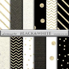 Digital Paper black white Gold Foil confetti Stripes & Chevron digital background for scrapbooking,invites,cards,web design,Instant Download