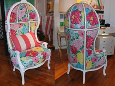 This Lilly Pulitzer chair looks like a beautifully painted faberge egg! http://www.thehome.com/video-a-look-back-we-remember-lilly-pulitzer/ #hpmkt