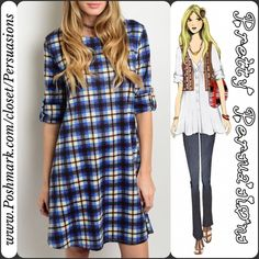 "NWT Blue Plaid Shift Dress NWT Blue Plaid Shift Dress   Available in sizes S/M/L  Measurements taken in inches from a size small:  Length: 36""  Bust: 36""  Waist: 48""  Features:  • blue plaid print • relaxed easy fit & soft material  • long sleeves (adjustable, can be buttoned to a shorter length as seen on model) • round neckline   Bundle discounts available  No pp or trades Pretty Persuasions Dresses"