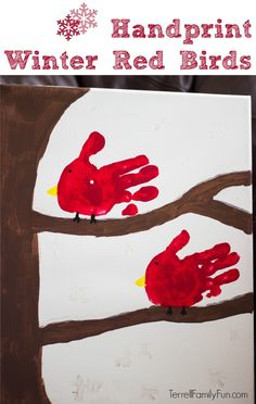 Handprint Winter Red Birds