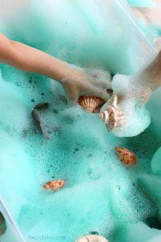 Soapy Sea Foam Sensory Play - Twodaloo