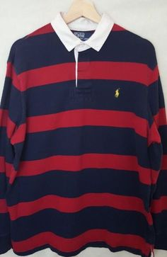 38ec7ce98 Vintage Polo Rugby Ralph Lauren Red Navy Blue Stripped Long Sleeve Shirt  SLarge