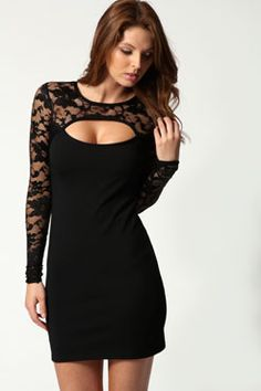 Jasmine Long Sleeve Lace Cutout Bodycon Dress at boohoo.com