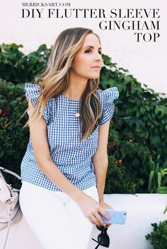 gingham-flutter-sleeve-top