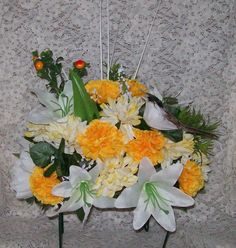 Remembering Our Loved Ones...With Fountain-Lake Creations. Hand Made Headstone Saddles With Perched Bird For Sale And Also Custom Made To Your Specifications. You Choose Your Colors & Style. Order Yours Today. $28.00