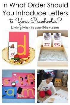 Ideas from Montessori education about the best order to teach letters of the alphabet; includes resources for introducing letter sounds - Living Montessori Now #Montessori #phonics #letters #preschool #homeschool