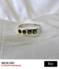 Sterling Silver 14K Green Tourmaline Ring good stacking ring fashion, for gold or silver, nice vintage style.