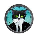 Tuxedo Cat Wall Clock Mean Cat, Cat Wall, Tuxedo, Clock, Cats, Gatos, Watch, Kitty Cats, Clocks