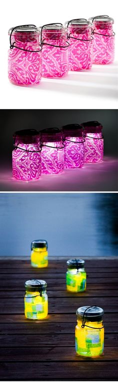 Put tissue paper in a mason jar, then a flameless candle (battery operated) and put lid on. Line your sidewalk or put on tables for an outdoor party.
