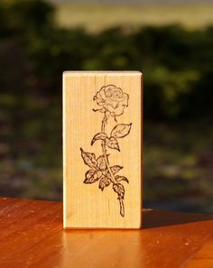 Long Stem Rose Wood Mounted Rubber Stamp 1988 by PSX F-970  | eBay