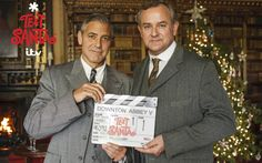 Hollywood actor poses with Downton Abbey star Hugh Bonneville in Highclere   Castle ahead of special spin-off sketch for ITV's annual Text Santa appeal