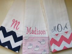 Personalized Monogrammed Burp Cloths Baby Girl Set by chickamama