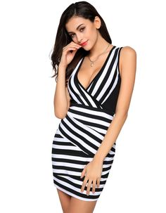 Finejo 2016 Summer Ladies Women Fashion Sexy V-neck Stripped Sleeveless Slim Bodycon Sheath Mini Party Dress vestidos