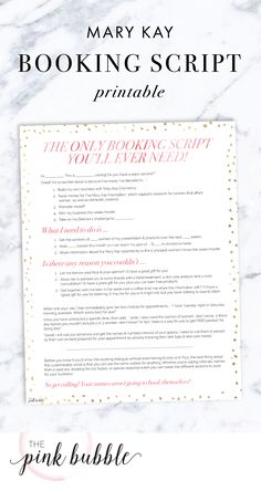 The only Mary Kay Booking Script you'll ever need! Find it only at www.thepinkbubble.co!