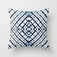 Diamonds Indigo Throw Pillow by Vikki Salmela, #Bohemian #Indonesian hand #tie #dyed #indigo and #white #geometric #pattern #art on #home #fashion #decor throw #pillows for #living room, #bedroom, #apartment or special #gift. Mix and match with other indigo hand painted pillows for a new fun look.