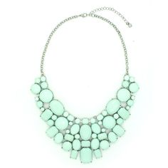 Eye Candy LA Mint June Bib Necklace ($20) ❤ liked on Polyvore featuring jewelry, necklaces, mint green bib necklace, mint necklace, polish jewelry, mint green necklace and mint bib necklace