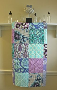 Modern Baby Quilt - Patchwork - Lavender and Aqua - Baby Girl Quilt. $98.00, via Etsy.