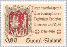 Stamp: Maiden with Child, Bishop, Jubilee Badge, Dome-chapter Seal (Finland) (700 Years Turku Dome-chapter) Mi:FI 795,Sn:FI 590,Yt:FI 759,Sg:FI 909,AFA:FI 802