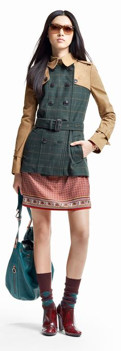 Tommy Hilfiger FW13 Marylin Material Mix Trench Coat, Tinsley Hobo #tommyhilfiger #FW13 #womenswear #Autumn2013